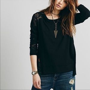 Free people Outer Sunset Black Lace Long Top Lace